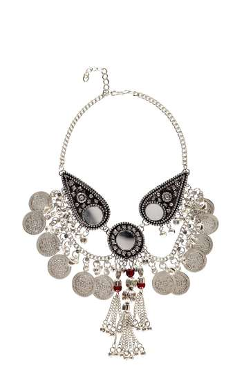 ELLA MIRROR COIN AND BEAD STATEMENT NECKLACE